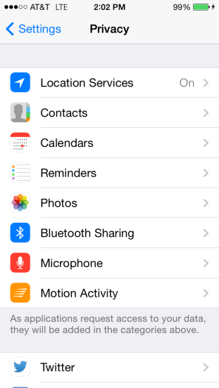 You can drill into any of these categories and revoke access from any app to which it has already been granted.